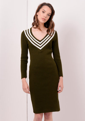 V Neck Midi Jumper Dress Khaki Dru | Lily Lulu Fashion